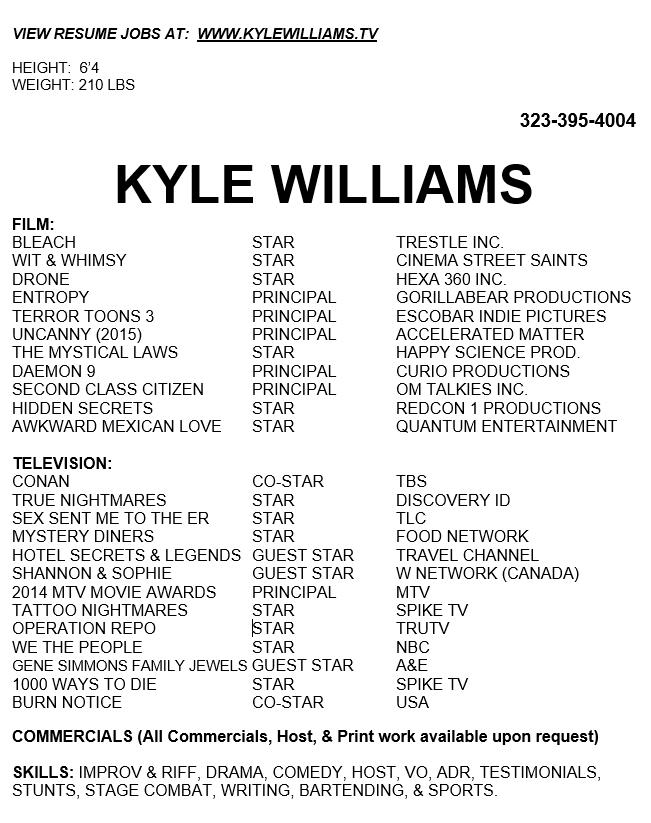 Resume Kyle Williams Kylewilliams Tv